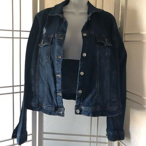 Dark wash distressed stretch jean jacket size L